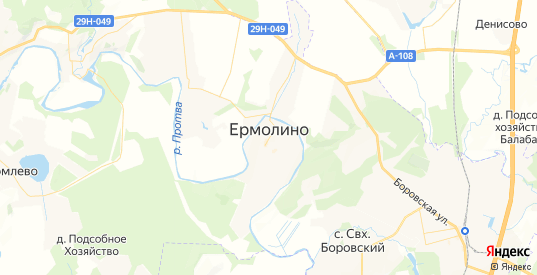 Карта Ермолино с улицами и домами подробная. Показать со спутника номера домов онлайн