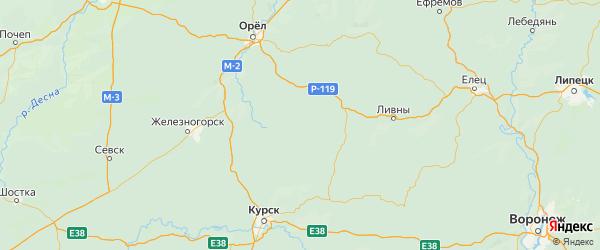 Карта Малоархангельского района Орловской области с городами и населенными пунктами