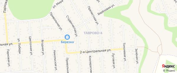 Кооперативная улица на карте Таврово 4-й микрорайона Белгородской области с номерами домов