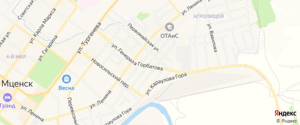 Территория ГСК Заводской на карте Мценска с номерами домов