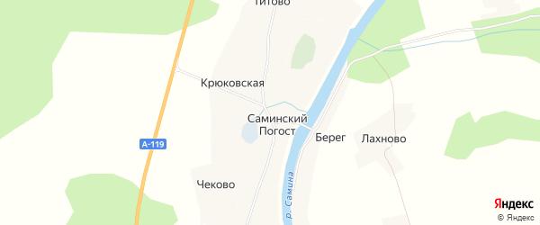 Карта деревни Саминского Погоста в Вологодской области с улицами и номерами домов