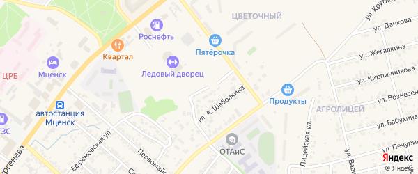 Лесной проезд на карте Мценска с номерами домов