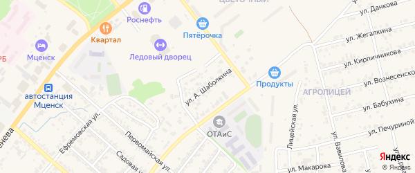 Улица А. Шаболкина на карте Мценска с номерами домов