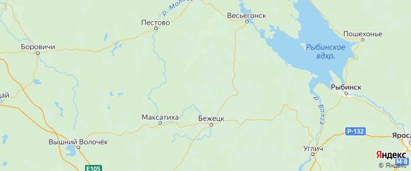 Карта Молоковского района Тверской области с городами и населенными пунктами