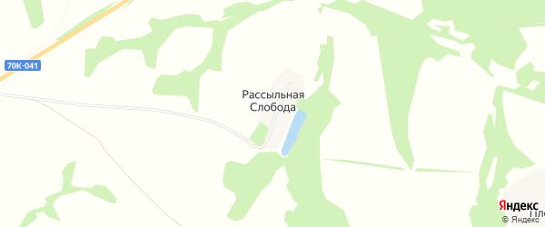 Карта деревни Рассыльной Слободы в Тульской области с улицами и номерами домов
