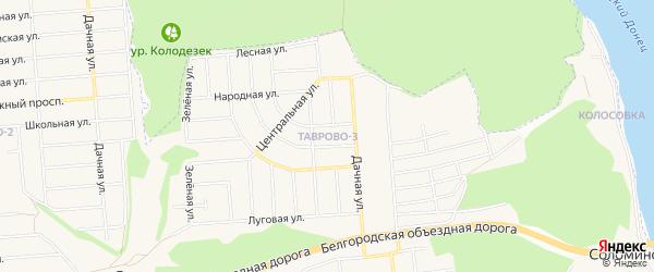 Карта Таврово 3-й микрорайона в Белгородской области с улицами и номерами домов