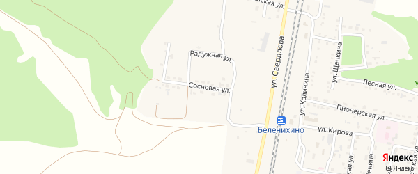 Сосновая улица на карте села Беленихино с номерами домов