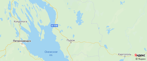 Карта Пудожского района Республики Карелии с городами и населенными пунктами