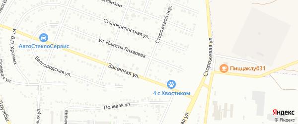 Сторожевой переулок на карте Белгорода с номерами домов