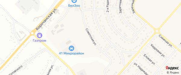Советская улица на карте Новосадового поселка Белгородской области с номерами домов