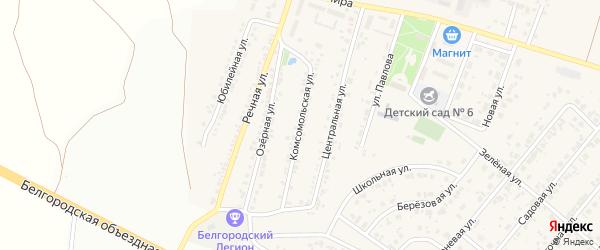 Комсомольская улица на карте Новосадового поселка Белгородской области с номерами домов