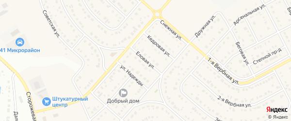 Еловая улица на карте Новосадового поселка Белгородской области с номерами домов