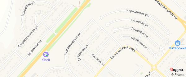 Алмазная улица на карте Новосадового поселка Белгородской области с номерами домов