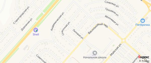 Лиловая улица на карте Новосадового поселка Белгородской области с номерами домов
