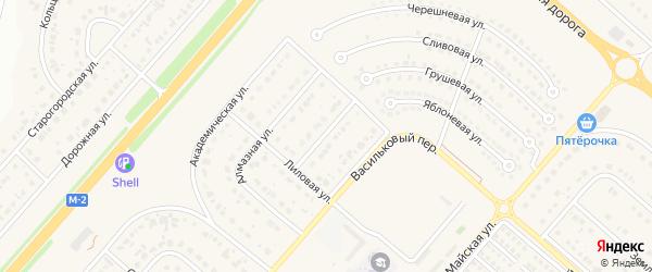 Лиловый проезд на карте Новосадового поселка Белгородской области с номерами домов