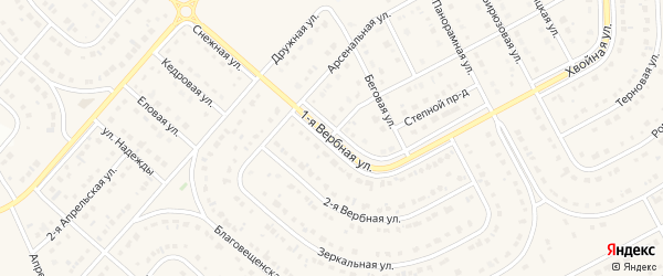 1-я Вербная улица на карте Новосадового поселка Белгородской области с номерами домов