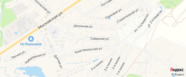 Северная улица на карте Белоусово с номерами домов