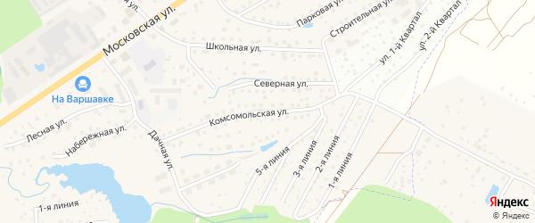Комсомольская улица на карте Белоусово с номерами домов