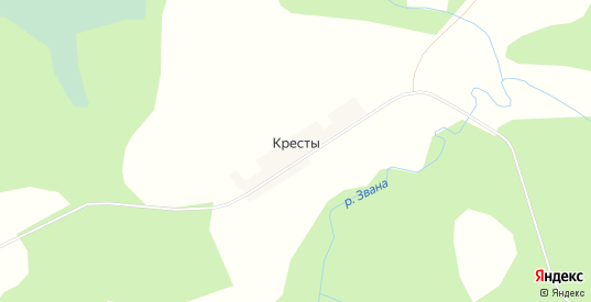 Карта деревни Кресты в Вологодской области с улицами, домами и почтовыми отделениями со спутника онлайн