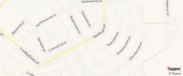 Хвойная улица на карте Новосадового поселка Белгородской области с номерами домов