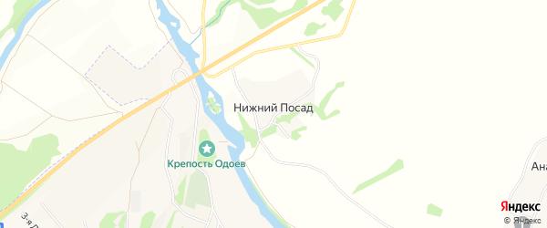 Карта деревни Нижнего Посада в Тульской области с улицами и номерами домов