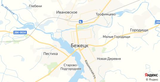 Карта Бежецка с улицами и домами подробная. Показать со спутника номера домов онлайн