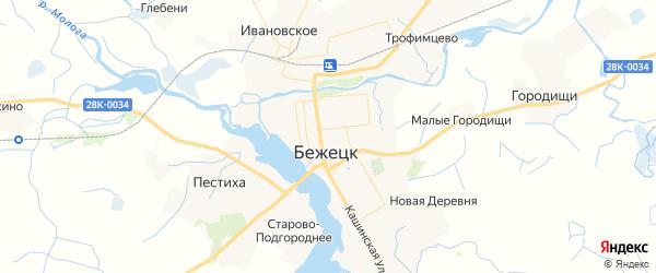 Карта Бежецка с районами, улицами и номерами домов