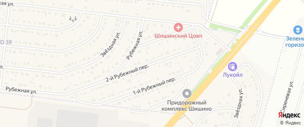 Рубежный 2-й переулок на карте села Шишино Белгородской области с номерами домов