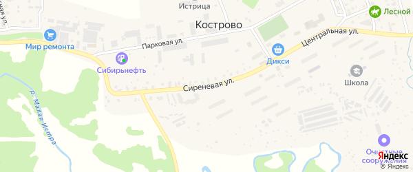 Сиреневая улица на карте деревни Кострово Московской области с номерами домов