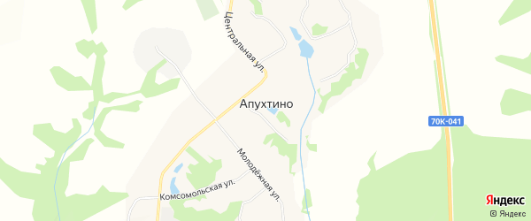 Карта села Апухтино в Тульской области с улицами и номерами домов