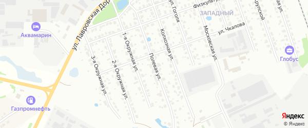 Полевая улица на карте территории Коттеджного поселка Солнечное-1 Московской области с номерами домов