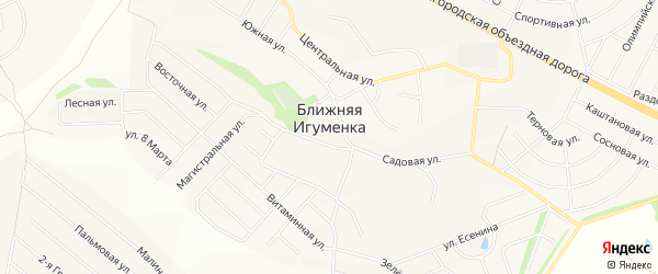 СТ Заря на карте села Ближней Игуменки с номерами домов