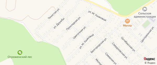 Цветочная улица на карте Беловского села Белгородской области с номерами домов