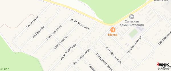 Улица Марии Ушаковой на карте Беловского села Белгородской области с номерами домов