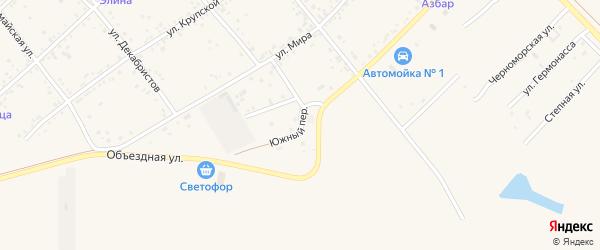 Южный переулок на карте станицы Тамани Краснодарского края с номерами домов