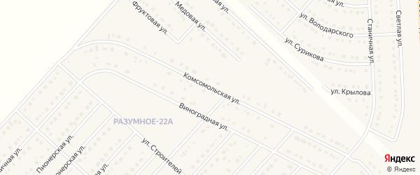 Комсомольская улица на карте поселка Разумного Белгородской области с номерами домов