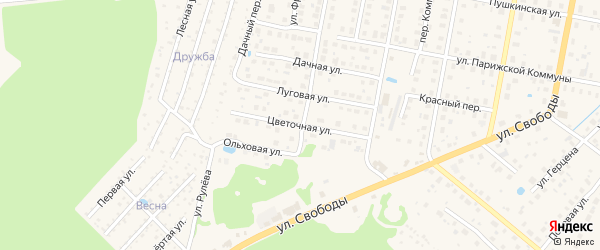 Цветочная улица на карте Конаково с номерами домов