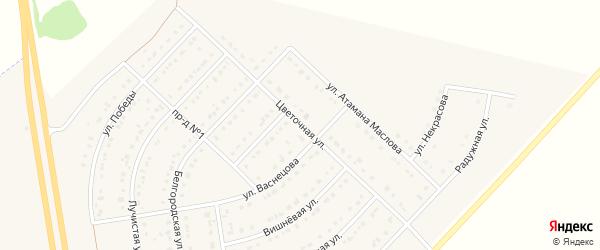Цветочная улица на карте поселка Маслова Пристани с номерами домов