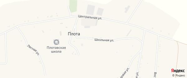 Школьная улица на карте села Плоты Белгородской области с номерами домов