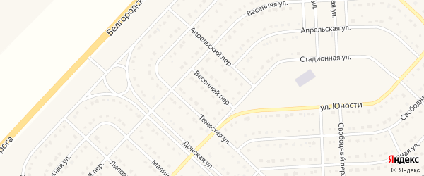 Весенний переулок на карте поселка Разумного с номерами домов