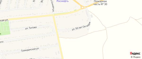 Улица 50 лет Октября на карте поселка Прохоровка Белгородской области с номерами домов