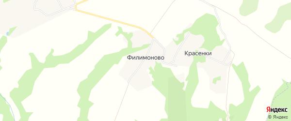 Карта деревни Филимоново в Тульской области с улицами и номерами домов