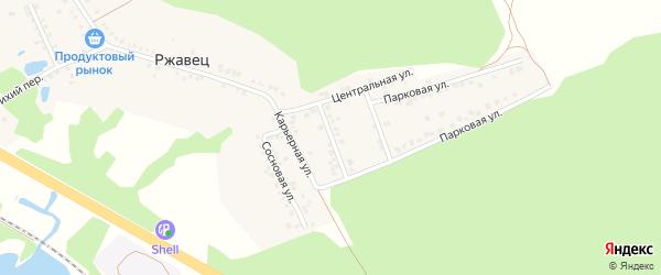 Карьерная улица на карте хутора Ржавца с номерами домов
