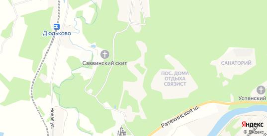 Карта поселка Санаторий Министерства обороны в Звенигороде с улицами, домами и почтовыми отделениями со спутника онлайн