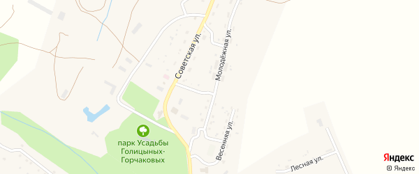 Весенняя улица на карте села Барятино Калужской области с номерами домов