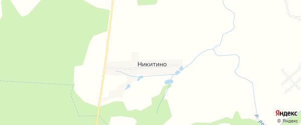 Карта деревни Никитино в Калужской области с улицами и номерами домов