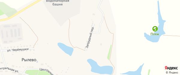 Запрудный переулок на карте села Рылево Тульской области с номерами домов
