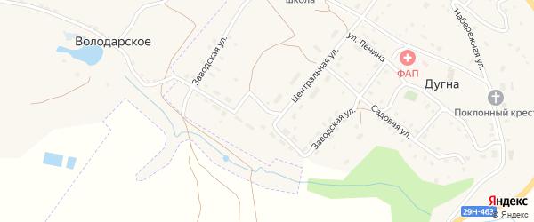 Заводская улица на карте поселка Дугна Калужской области с номерами домов