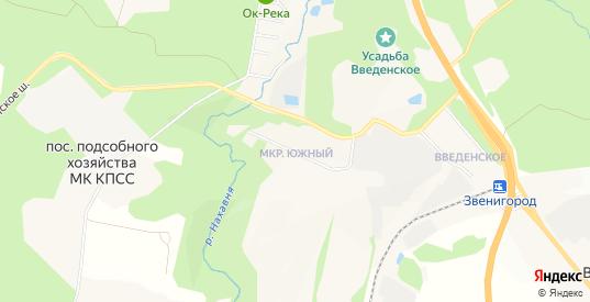 Карта микрорайона Южный в Звенигороде с улицами, домами и почтовыми отделениями со спутника онлайн