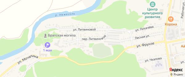 Литвиновой переулок на карте Шебекино с номерами домов